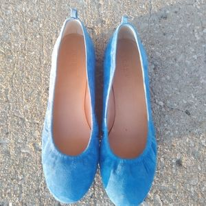 J. Crew Anual Suede Ballet Flat in blue